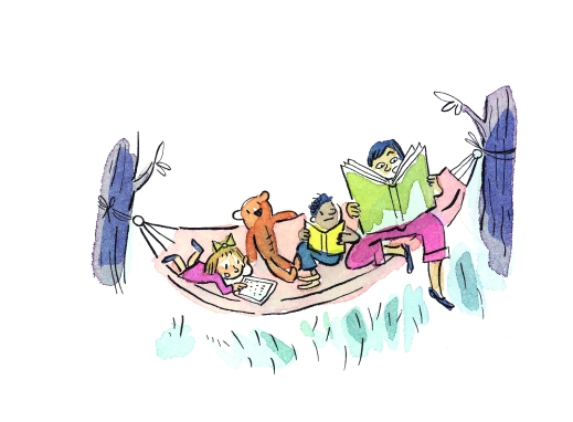 A colour illustration of three children reading in a hammock.