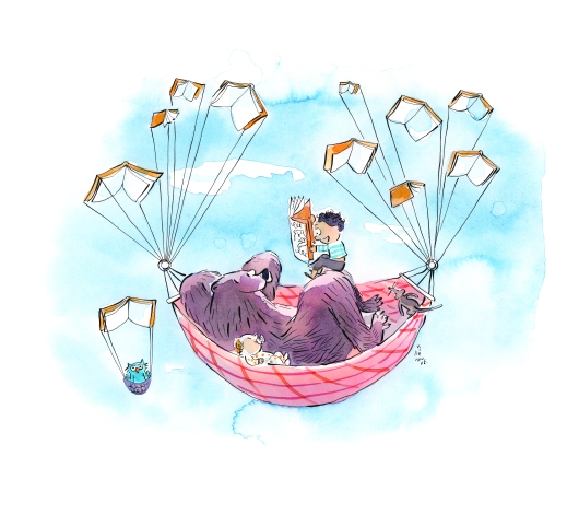 A watercolour illustration of a bear and two children lying down in a hammock that is being lifted into a blue sky by open books. The older child is reading a story while the baby listens attentively.