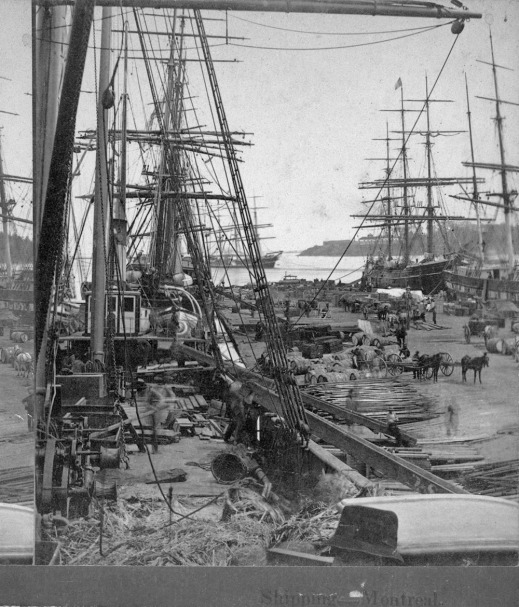 A black-and-white photograph of moored sailing cargo ships. Various types of cargo are stacked on the wharf and transported away by horse-drawn wagons.