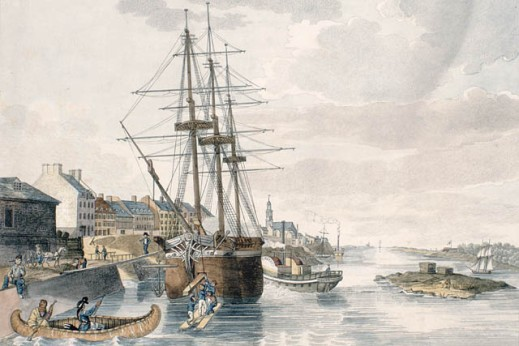 A colour print of Montréal harbour and a moored sailing ship having its cargo unloaded onto the wharf. There is a paddleboat to the ship's port side, and two men paddling a canoe across its bow.