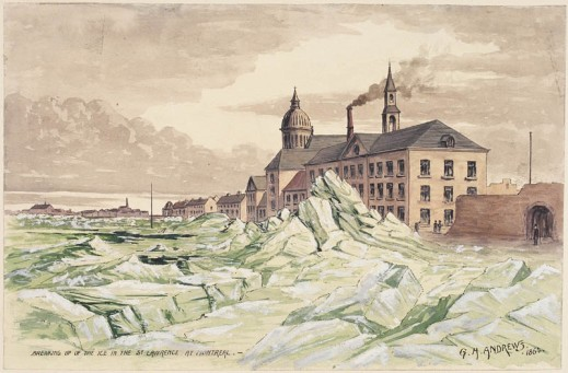 A watercolour of a huge ice buildup along the port shoreline of a city.