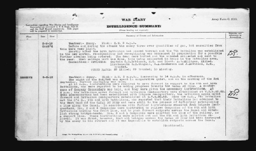 A black-and-white image of a textual document summarizing the activities of the 7th Canadian Infantry Battalion on September 2, 1918, continued onto a second page.