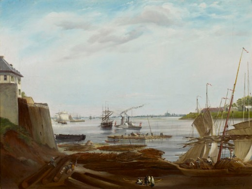 An oil painting of a harbour and waterfront, with a green island visible on the right.