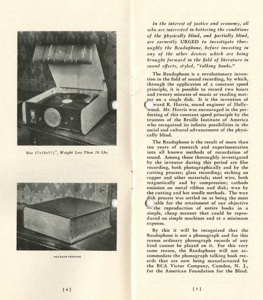 An open pamphlet with the left page showing two images and the right page having typewritten text. The image at the top shows an opened square box containing a turntable, with knobs on the front of the box for operating it. The image at the bottom shows the turntable with its cover on, which looks like a large book.