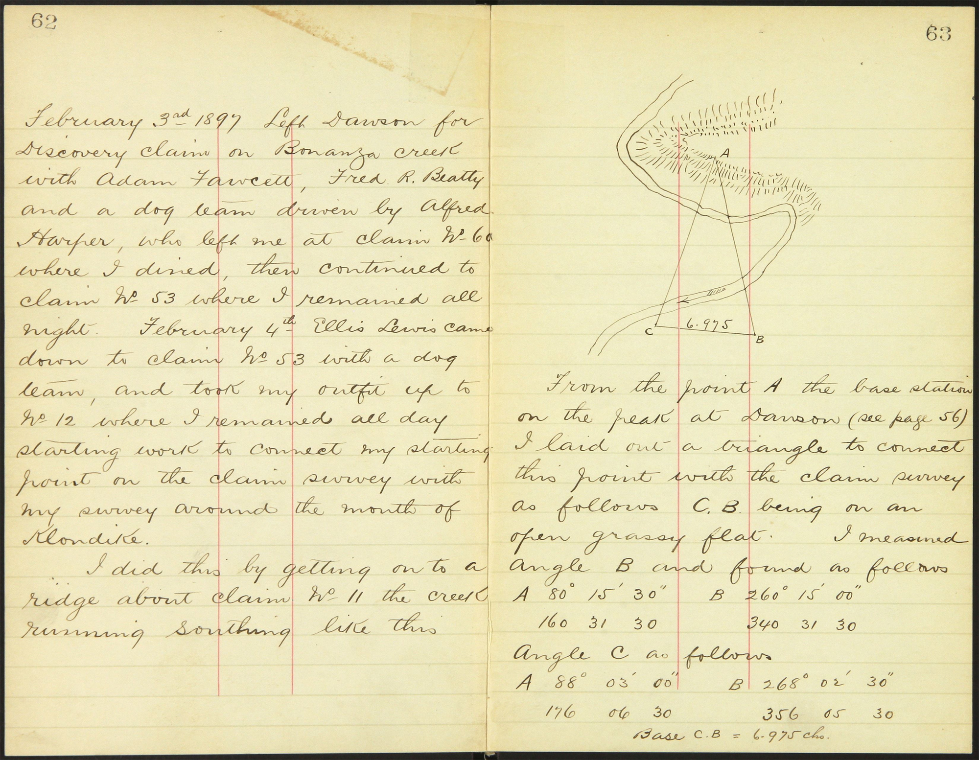Two handwritten pages from a Dominion land surveyor's field book explaining the daily details about the modes of transportation, places for food, etc.