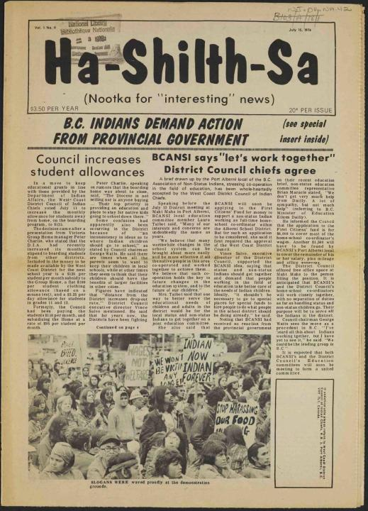 "A yellowed newspaper titled Ha-Shilth-Sa and the byline (Nootka for ""interesting"" news) The headline reads: B.C. Indians demand action from provincial government."