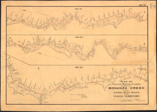 A detailed map showing three sections of Bonanza Creek with the identity of the discovery claims.