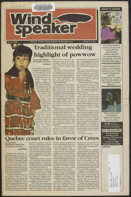 The first page of a colour newspaper titled Wind Speaker wth the byline: AMMSA, Canada's largest publisher of Aboriginal news. The main headlines read: Traditional wedding highlight of powwow and Quebec court rules in favor of Crees.