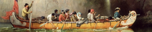 Colour oil painting of a birchbark canoe, in profile, moving through calm water in front of a bare rock cliff. Eight men are paddling the canoe while a man in a black hat and a woman in a pale blue hat sit in the middle. A red flag is partly unfurled at the stern of the canoe. The bow and stern of the canoe are painted white with colourful designs added.