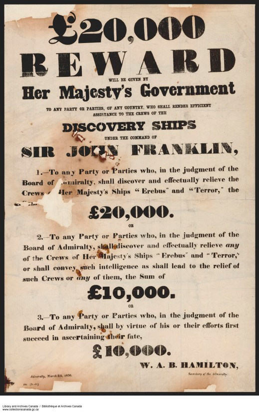 Poster offering a £20,000 reward for the discovery of the Franklin expedition.
