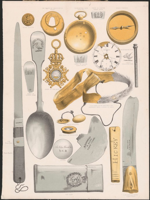 Drawing of a number of different items recovered during various search operations dispatched by the British government to locate the lost Franklin expeditions. Items include silverware, blades, pocket-watches, knives and flasks.