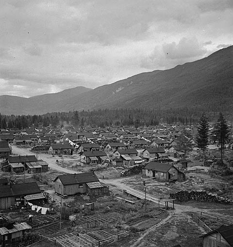 A black-and-white photograph of rows of internment camp dwellings.