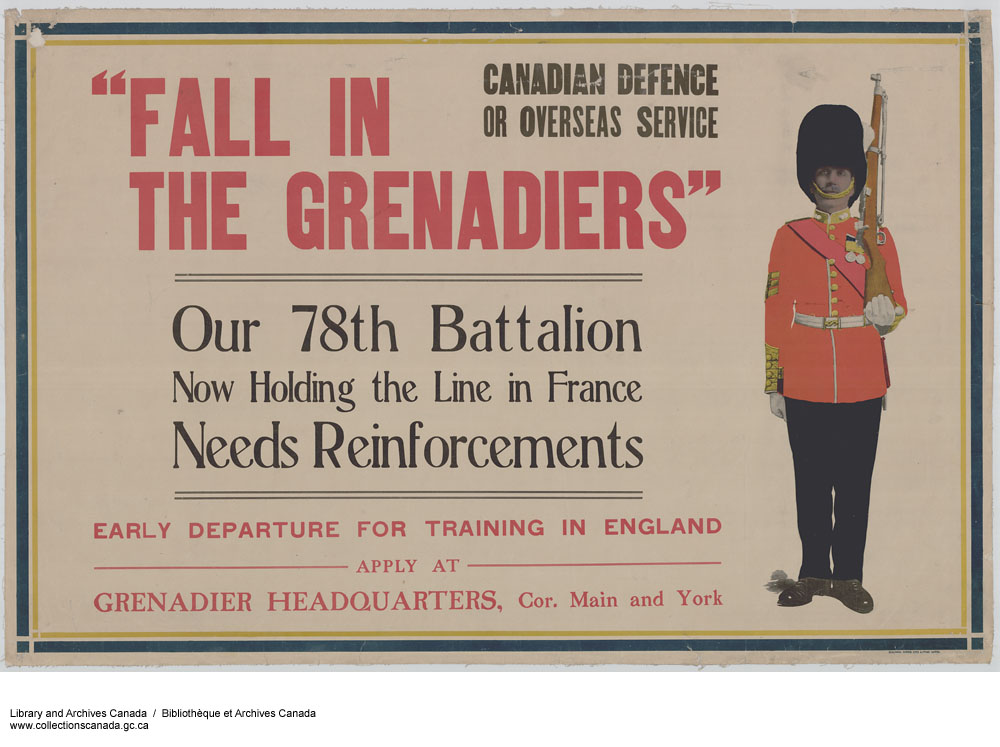 """A colour poster with """"Fall in the Grenadiers"""" in large red text, with varying other black and red text. On the right, a uniformed soldier with a tall black hat, a red coat and a rifle slung over his shoulder stands at attention."""