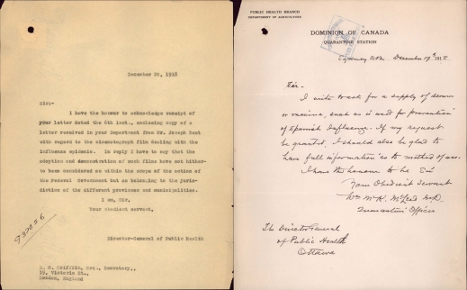 A typed letter and the handwritten response about the Spanish flu.