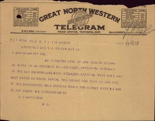 A colour reproduction of a telegram discussing the Spanish flu.