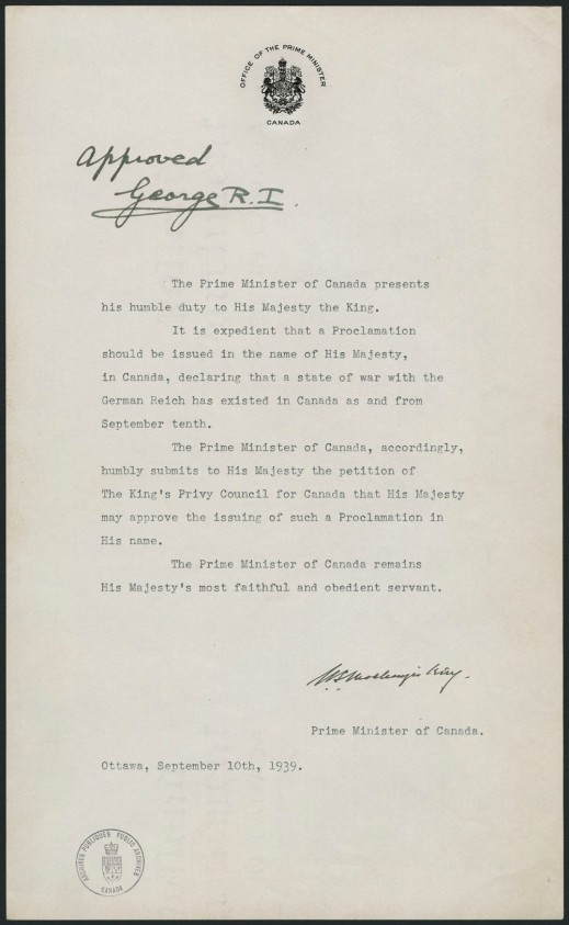 A typed, one-page document asking the the king to authorize a proclamation of war on the German Reich on September 10, 1939.