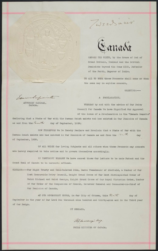 A proclamation, bearing the Great Seal of Canada, announcing that Canada was at war against the German Reich.