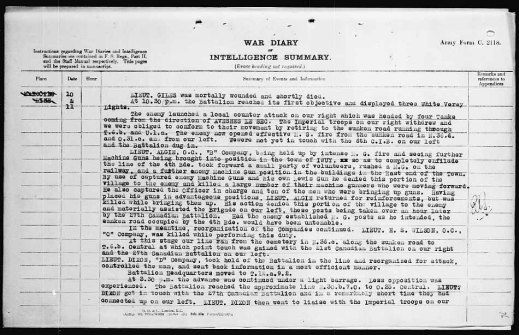A typed page detailing the events of October 10 to 11, 1918.