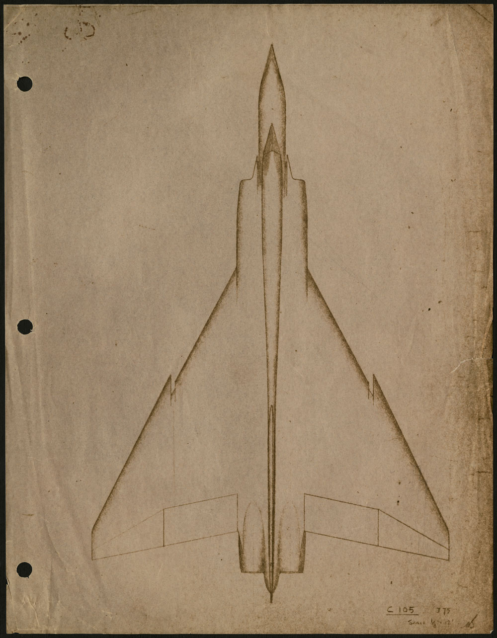 A sketch of the outline of a very futuristic looking airplane.
