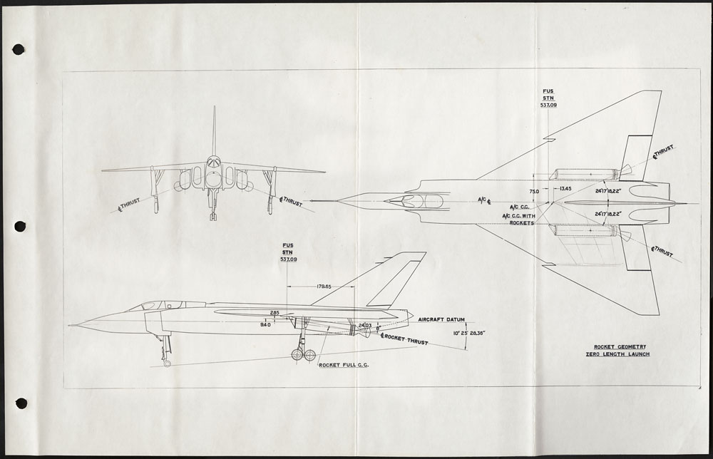A black-and-white drawing of the side, front, and top views of an aircraft.