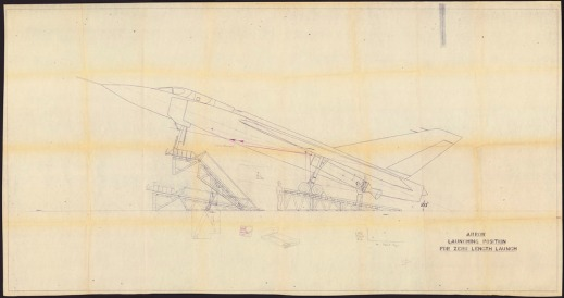 A detailed technical drawing of an airplane in launching position.
