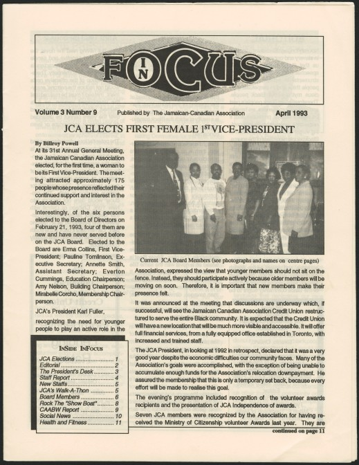 "The front page of a printed newsletter. The main headline reads: ""JCA elects first female 1st Vice-President."""