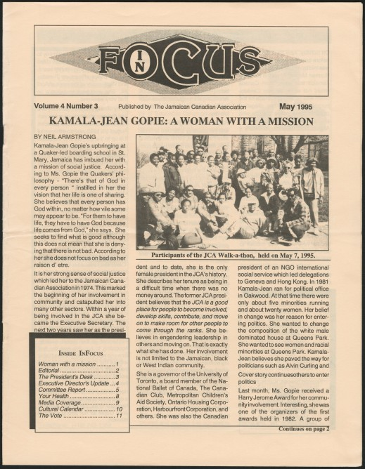 "The front page of a printed newsletter. The headline reads: ""Kamala-Jean Gopie: A woman with a mission."