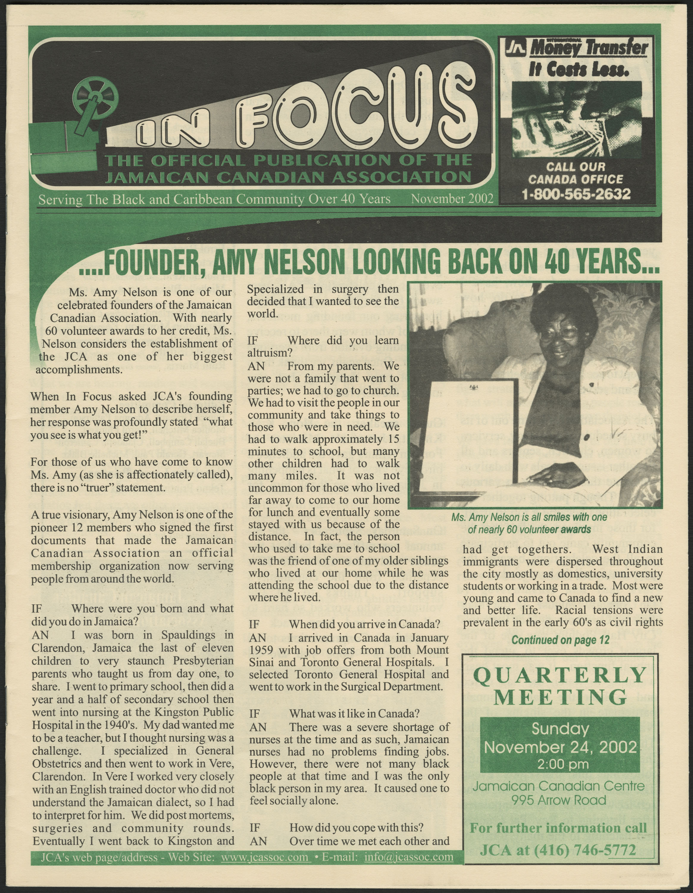 "The front page of a black-and-green printed newsletter. The main headline reads: ""….founder, Amy Nelson looking back on 40 years…"""