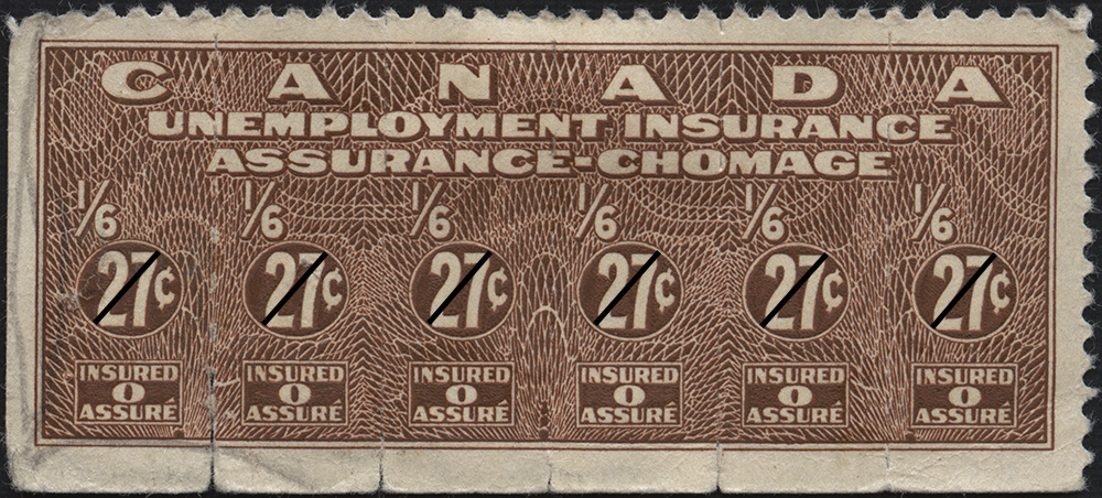 A colour photograph of a red-brown stamp with the following text: Canada. Unemployment Insurance. Assurance-Chomage. 1/6 27¢. Insured 0 Assuré.