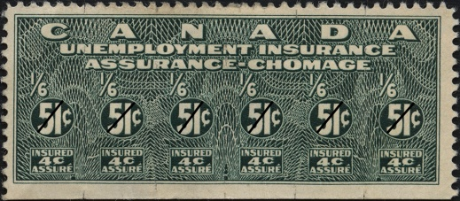 A colour photograph of a green unemployment insurance stamp.