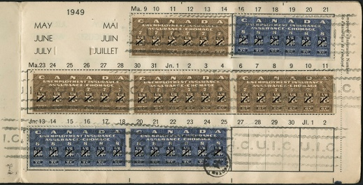 A colour photograph of a page from a used unemployment insurance booklet with seven attached unemployment insurance stamps, dated May, June and July 1949.