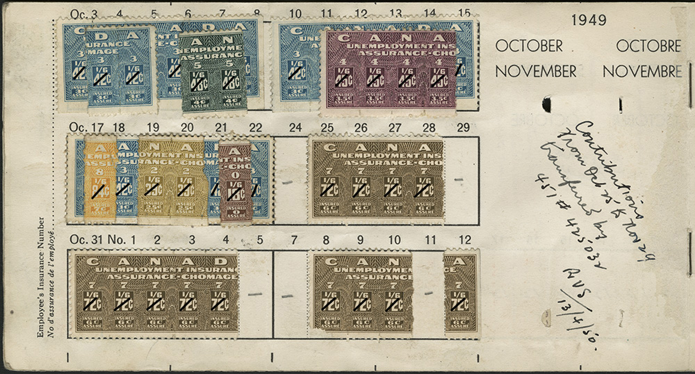 A colour photograph of a page from a used unemployment insurance booklet with several attached unemployment insurance stamps, dated October and November 1949. The stamps are very colourful, and there is a handwritten note with a date and initials.