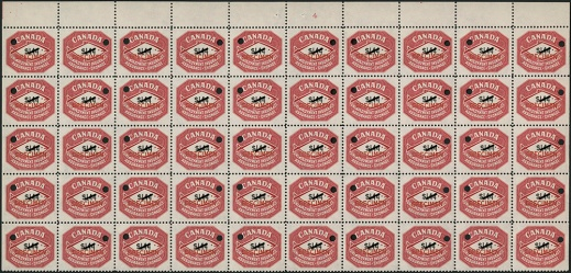 A colour photograph of a block of 50 specimen red unemployment insurance stamps.