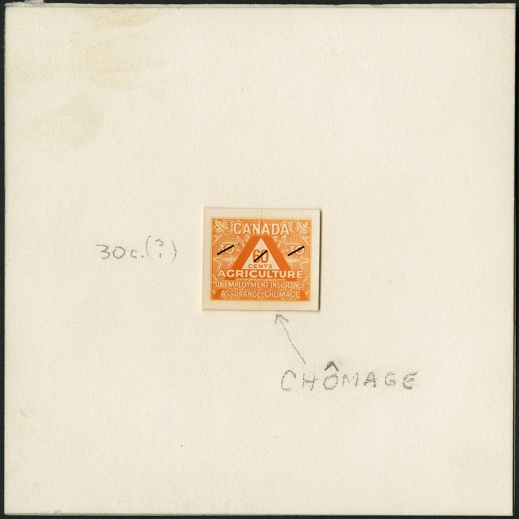 A colour photograph of a die proof of an orange agriculture stamp.