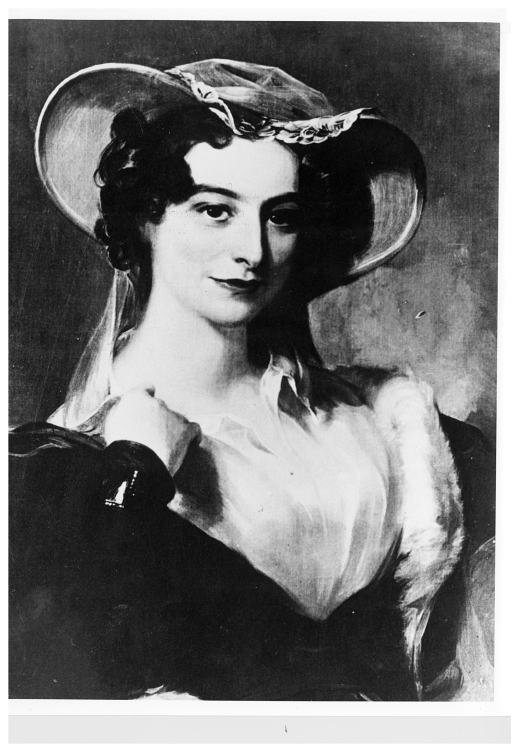 A black-and-white painting of a young woman dressed in fashionable clothes of the period.
