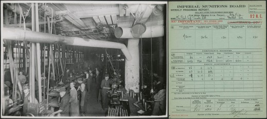 Left, a black-and-white photograph of workers on a production line for shells. Right, a blue Imperial Munitions Board form for progress achieved by a production line in a given week.