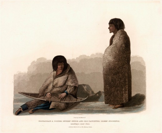 A colour lithograph of a woman sitting on the ground and mending a snowshoe, with a man standing on the right. Both figures are wearing long fur cloaks.