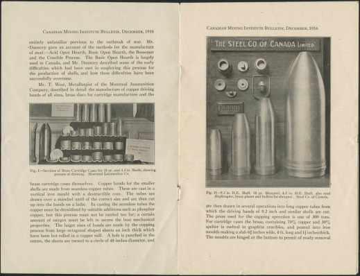 Two printed pages from the Canadian Mining Institute Bulletin with black-and-white photographs of shells produced by Stelco.