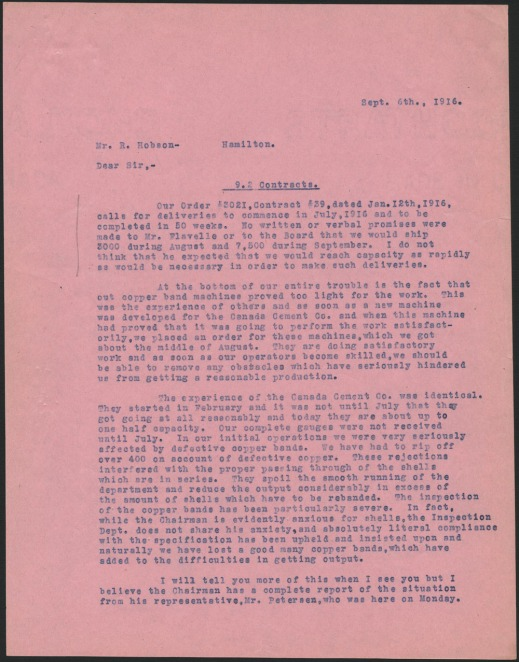 First page (pink) of a letter written in September 1916 by Montréal plant manager Ross H. McMaster to Stelco president Robert Hobson describing problems in producing and delivering shells.