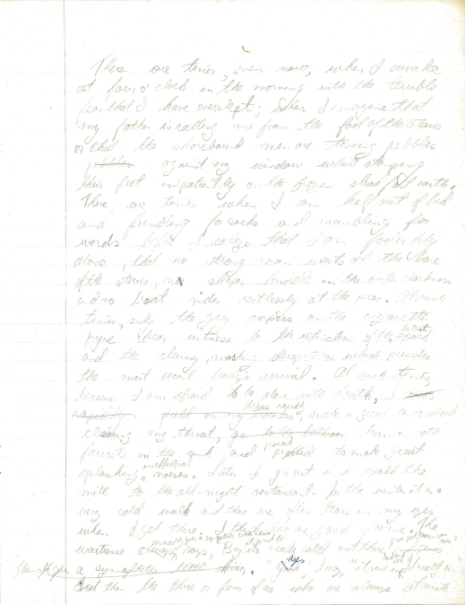 A handwritten first page of The Boat.