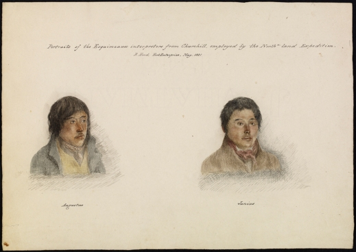"A watercolour of two young Inuit men wearing western-style clothing. One is captioned ""Augustus"", the other ""Junius""."