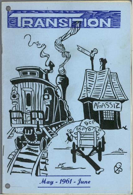 "Cover illustration showing an old-fashioned train engine and caboose, a railway station with a sign reading ""Agassiz,"" and a handcart containing mailbags labelled ""BCP"""