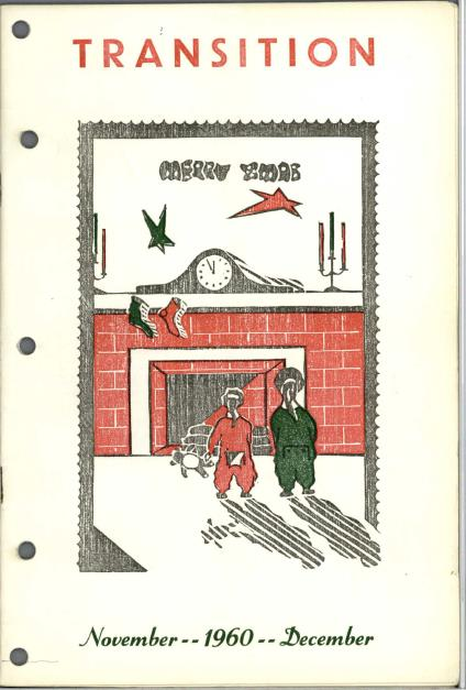 "Cover illustration with text ""Merry Xmas,"" showing two children in pyjamas facing a fireplace where Christmas stockings are hanging from the mantle."
