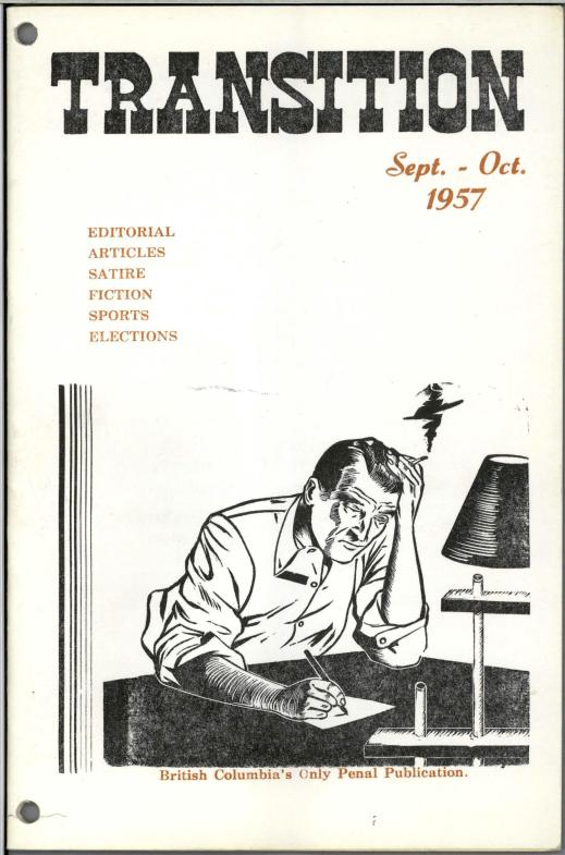 Cover illustration showing a man sitting at a desk writing a letter with his right hand and holding his head in his left hand, which also holds a lit cigarette.