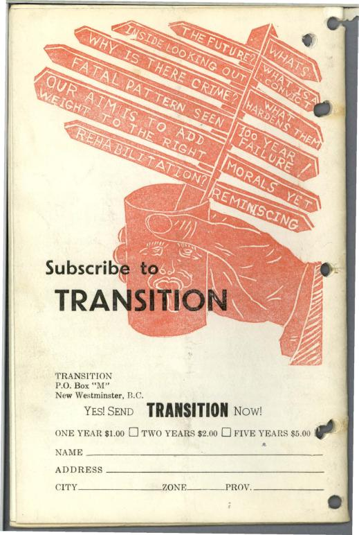 "Back cover illustration showing a hand holding a cup containing signposts with various messages, such as ""What Is A Convict?"", ""Inside Looking Out"", ""Rehabilitation?"", and ""100 Year Failure!"" A subscription form is included below the illustration."