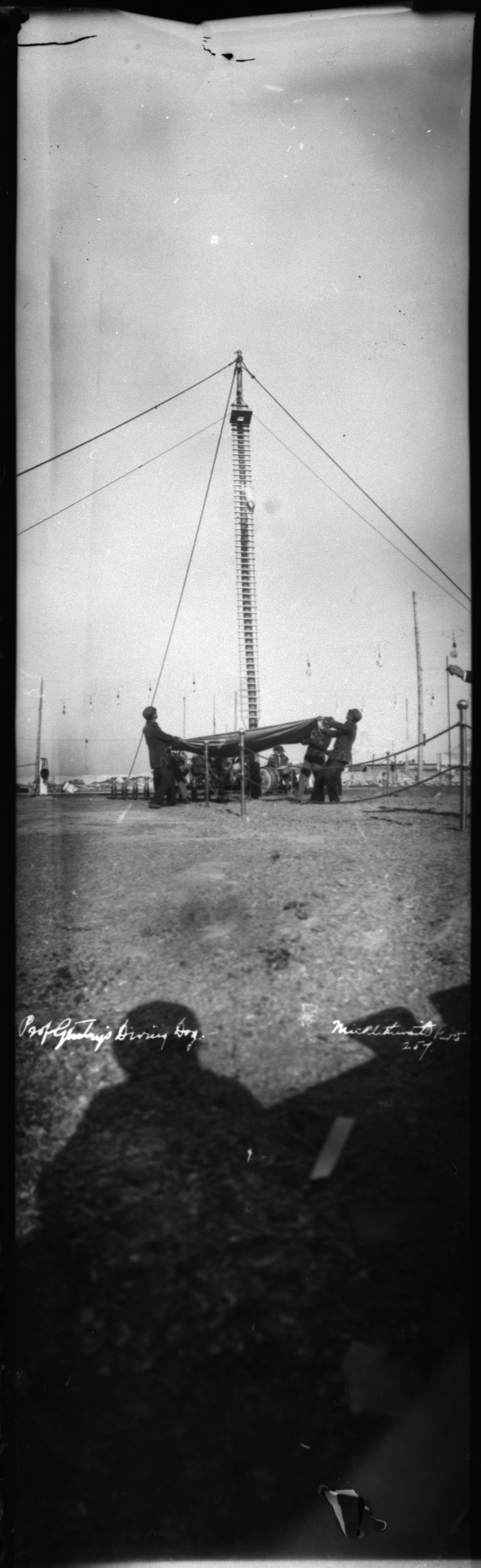 A black-and-white photograph of a circus dog jumping from a platform on a tall pole. Four men below hold a large blanket to catch the falling dog.