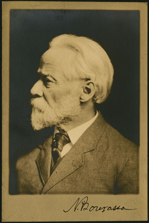 A Black And White Photograph Of Napolon Bourassas Left Profile