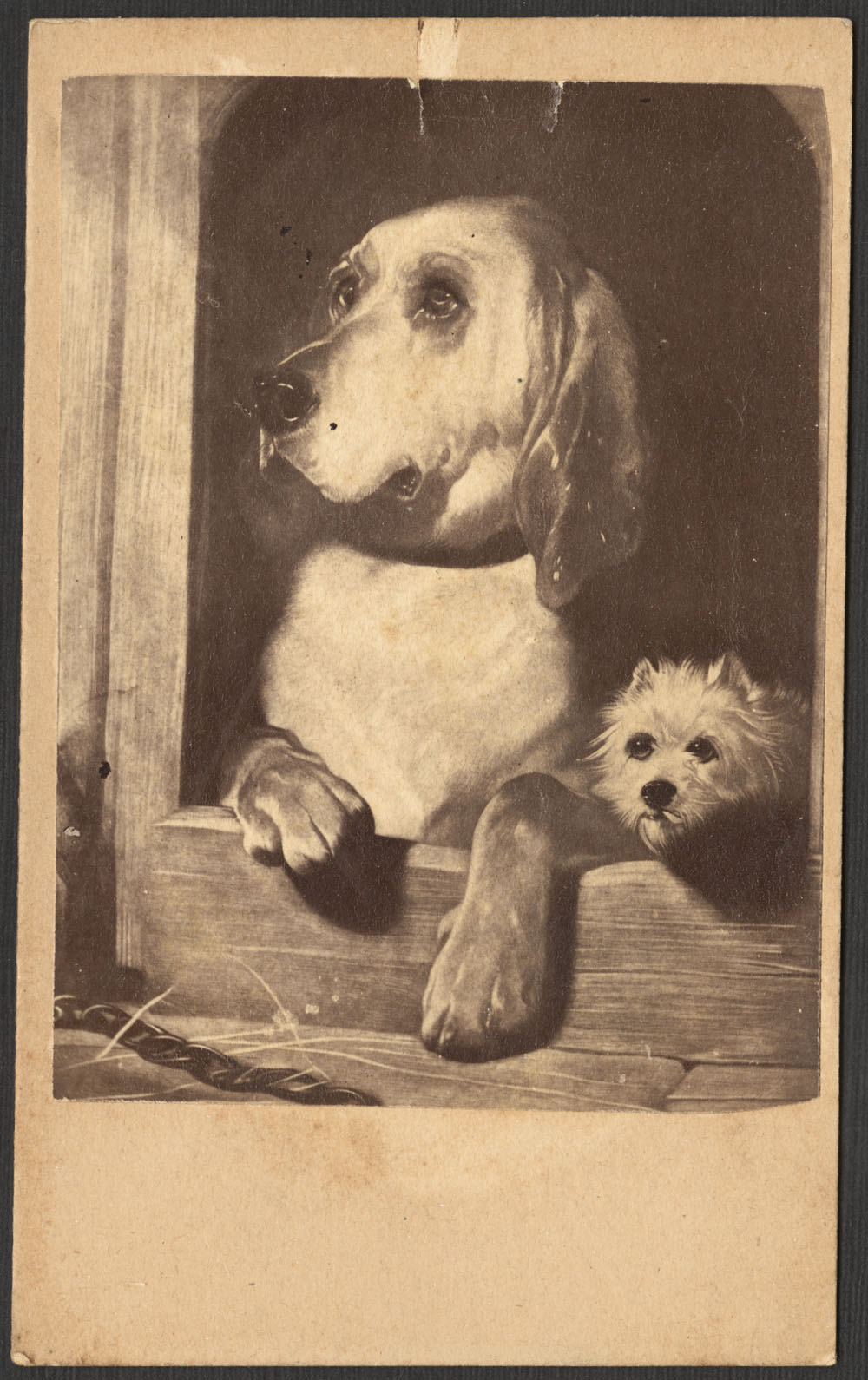 A black-and-white photolithograph of two dogs, one large and one small, looking out from the entrance to a doghouse.