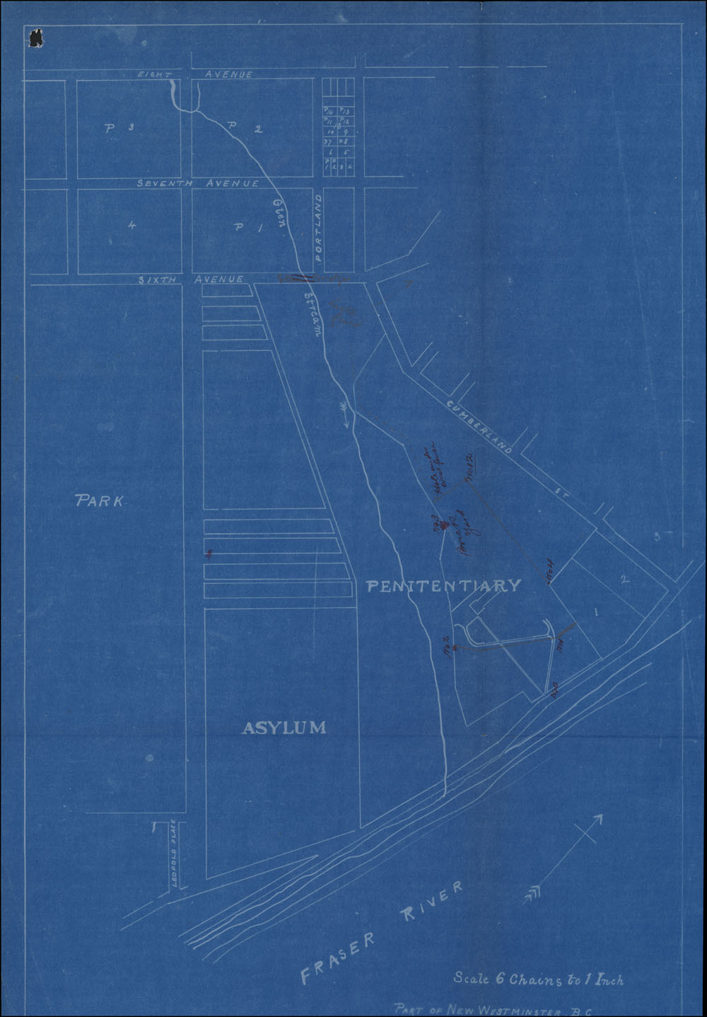 Map on blue background, labelled to show general locations of penitentiary, asylum, and surrounding streets, park, and the Fraser River. Annotations indicate location of fence where Miner escaped, as well as other details of the local area.