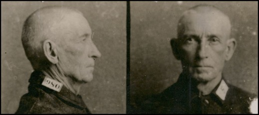 Two photographs of Bill Miner showing a front view and a profile view. They show Miner with his hair closely cut, and his mustache shaved.